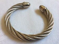 Silver colored metal cable wire twist ball bead ends cuff bracelet