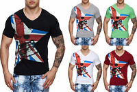 Herren Slim Fit T-Shirt Shirt Star UK London V-Neck Designer M L XL XXL