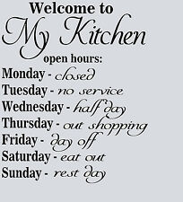 """Kitchen Vinyl Wall Art Transfer Decal """"Kitchen Opening hours"""" Quote"""