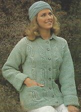 "Ladies Casual Jacket with cables and Hat Knitting Pattern Double DK 32-38"" 727"