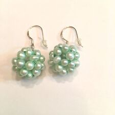 HAND MADE MINT GREEN PEARL CLUSTER BALL EARRINGS WITH 925 STERLING EAR WIRES  #4