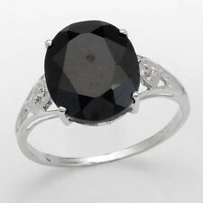 STUNNING SOLID 10K WHITE GOLD SAPPHIRE & DIAMOND SOLITAIRE RING 7/ O U$560