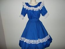 NEW MALCO MODES 2 PIECE ROYAL BLUE - SILVER SQUARE DANCE DRESS SIZE: MEDIUM