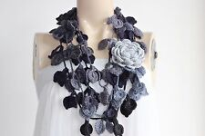 Grey  Scarf-Leaves Necklace Scarf-Shades of Grey Lariat Scarf-ROSE CROCHET SCARF