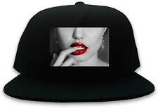 Kings Of NY Sexy Red Lips and Finger Snapback Cap Hat Cotton One Size Black