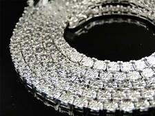 Mens White Gold Finish Genuine Diamond 1 Row Necklace Chain 34 Inch 4 MM