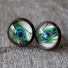 Glass Dome Peacock Feather Eyes Round Vintage Brass Stud Earrings