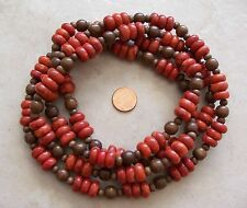 "54"" Long Strand Red Sponge Coral Rondelle & Wood Round Beads 6mm-12mm Necklace"