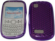 For Nokia Asha 201 / 2010 Pattern Gel Case Cover Protector Pouch Purple New UK