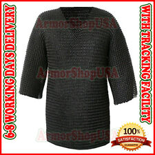 LARGE BUTTED CHAINMAIL SHIRT, BLACKENED CHAIN MAIL ARMOR, CHAINMAILLE HAUBERGEON
