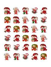 30 Glossy Square Stickers Envelope Seals Favor Tags Christmas (s99)