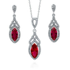 Silver Marquise Simulated Ruby CZ Art Deco Halo Necklace Earrings Set