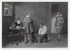 """Awesome 1800s James Dromgole LINTON Antique Engraving """"The Huguenot"""" SIGNED COA"""
