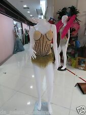DaNeeNa M557 Crystal Cher Vegas Burlesque Bugle Beaded Leotard Bodysuit XS-XL
