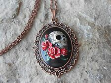 SKULL AND ROSES (RED, GREEN) HAND PAINTED CAMEO COPPER PENDANT NECKLACE - GOTH