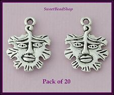 20 Antique Silver Colour Double Sided 21 x 15mm Wicca Pagan Green Man Charms
