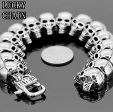 MEN,S 9.3'' STAINLESS STEEL SKULL HEADS SILVER BRACELET/119g/BR24