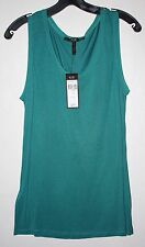 "BCBG Women's Sz Med ""Fern "" Teal Sleeveless Top Poly Trim New with Tags! $48"