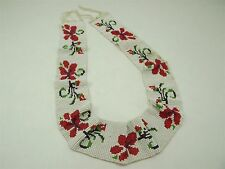 Native American Hand Beaded COLLAR Piece W/ Red POPPIES By Thomas M. Domiani