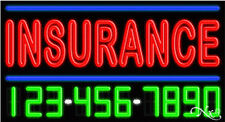"""NEW """"INSURANCE"""" w/YOUR PHONE NUMBER 37x20 REAL NEON SIGN W/CUSTOM OPTIONS 15074"""