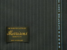 SUPERFINE WOOL WORSTED SUITING FLANNEL, SEMI MILLED, NAVY PINSTRIPE, 3.5MTRS