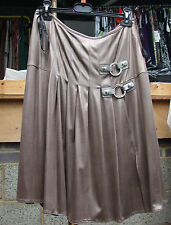 Joseph Ribkoff BNWT UK 10 Gorgeous Metallic Mocha Beige Skirt Pleats & Buckles