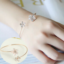 Fashion Women Flower Crystal Gold Plated Cuff Bracelet Bangle Charm Jewelry Gift
