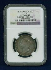 "CANADA VICTORIA  1870 L.C.W.  50 CENTS SILVER COIN, CERTIFIED NGC ""XF DETAILS"""