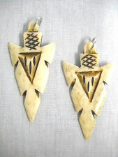 NEW LARGE HAND CARVED ANTIQUED COLOR BONE TRIBAL ARROWHEAD / ARROW HEAD EARRINGS