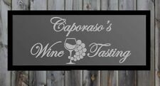"""Custom Wine Tasting Bar Frosted Etched Glass Vinyl Sticker Decal 17""""h x 36""""w"""
