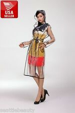Beautiful EVA Vinyl Women's Transparent Raincoat Waterproof Runway with Belt