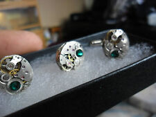 vintage oval steampunk lapel / tie  cravate stud pin and cufflinks set emerald