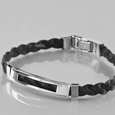 Stainless Steel Genuine Leather Chain Bracelet Silver Black hand-weave simple