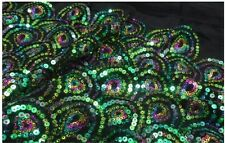 Sequin/FLORAL EMBROIDERY BEADS LACE FABRIC/1yard*1.48yard/multi-color/peacock