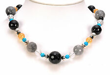 "Carolyn Pollack Multi-Gemstone Sterling Silver Bead Adjustable 17"" Necklace"