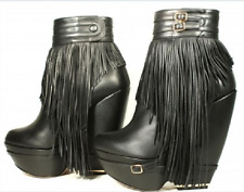 SUPER GORGEOUS!!! Nicholas Kirkwood Fringed Wedge BLACK ANKLE BOOTS  EU 39 US 9