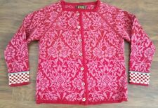 Oleana small pink floral sweater 100% wool