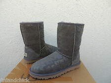 UGG GRAY CLASSIC LEOPARD SUEDE/ SHEEPSKIN BOOTS, US 5/ EUR 36 ~ NEW
