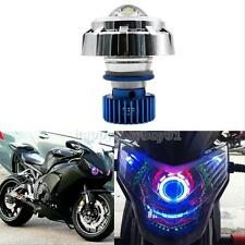 Hight/Low Beam 12V LED Projector Headlight Motorcycle Car Angel Eyes + Devil Eye
