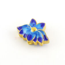 1x 925 Sterling Silver Golden Blued Lotus Flower Spacer Connector Bead A2031