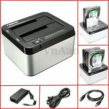 "USB 3.0 2.5"" & 3.5"" Dual SATA SSD HDD Hard Drive Disk Docking Station Caddy Case"