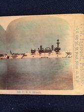 Antique Colored Stereoview of WW1 World War 1 US Navy Ship U. S. S. Illinois