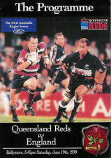 ENGLAND 1999 RUGBY TOUR PROGRAMME v QUEENSLAND 19th June at Ballymore