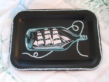 Maritime Collectible Schooner Ship in a Bottle Nautical Vintage Tole Tip Tray