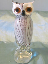 "Murano Cristalleria Art Glass Owl Sculpture Figurine 9.25"" Figure"