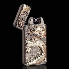 Black Chinese Dragon Electric Dual Arc Flameless Rechargeable Windproof Lighter