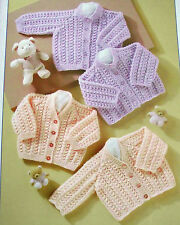 """KNITTING PATTERN - 4 STYLES DK BABY CARDIGANS TO FIT PREMATURE 30-56 CM / 12-22"""""""