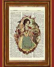 Snow White Dictionary Art Print Book Picture Story Fairy Tale Red Apple Poster