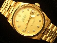 Rolex Solid 18K Yellow Gold Datejust w/Diamond Dial & President Style Band 16018