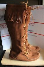 Minnetonka #1422 Brown Laced Hard Sole High Fringed Boots Size  US 10